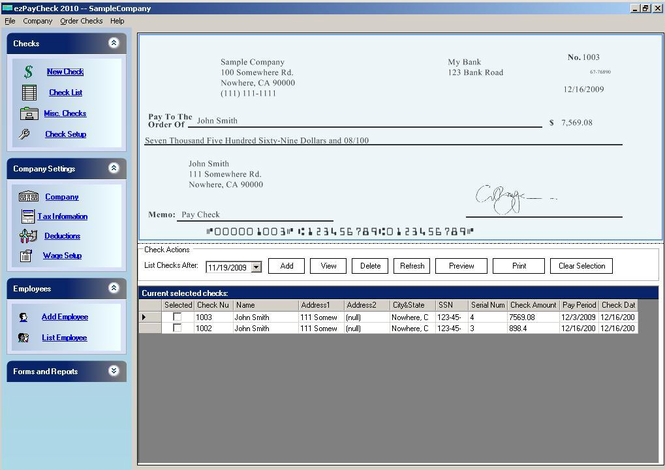 ezPaycheck Payroll Software Screenshot
