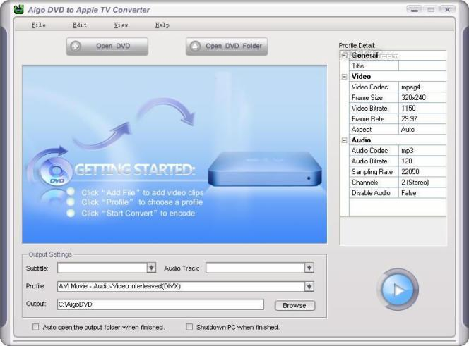 Aigo DVD to Apple TV Converter Screenshot 1