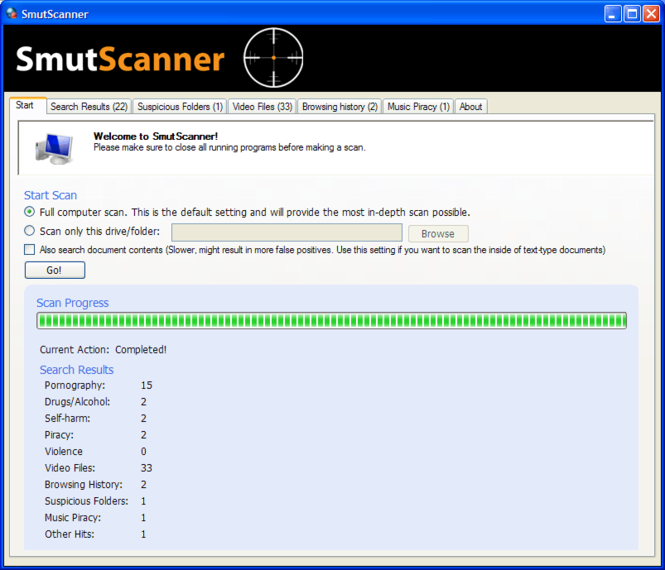 SmutScanner Screenshot