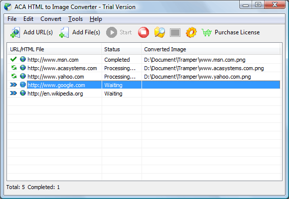 ACA HTML to Image Converter Screenshot 1