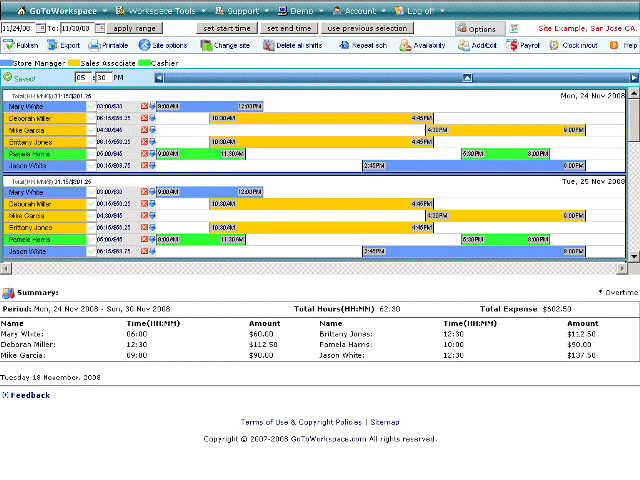 Free web based employee scheduling tools Screenshot 1