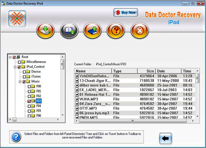 iPod Disk Data Restore Screenshot
