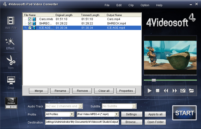 4Videosoft iPod Video Converter Screenshot