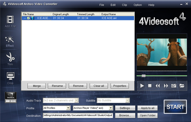 4Videosoft Archos Video Converter Screenshot 1