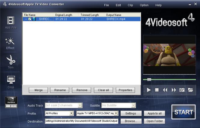 4Videosoft Apple TV Video Converter Screenshot
