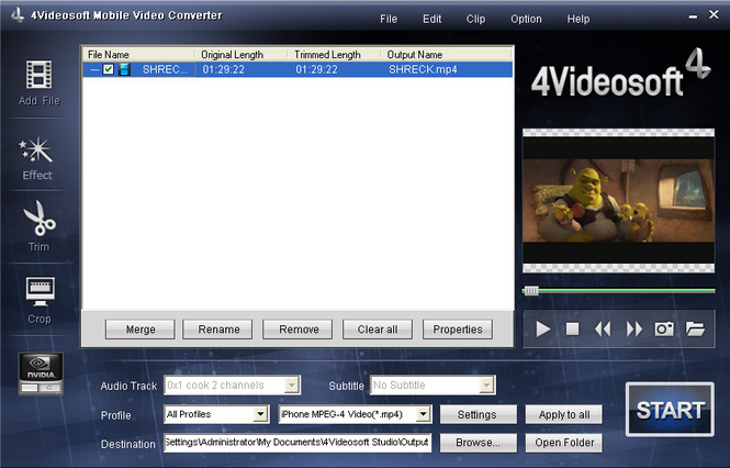 4Videosoft Mobile Video Converter Screenshot