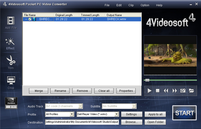 4Videosoft Pocket PC Video Converter Screenshot