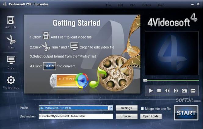 4Videosoft PSP Converter Screenshot 2