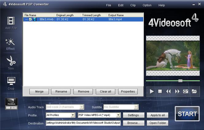 4Videosoft PSP Converter Screenshot