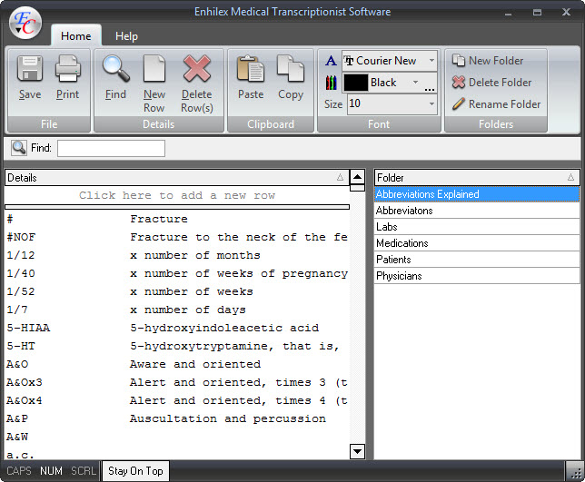 Enhilex Medical Transcription Software Screenshot