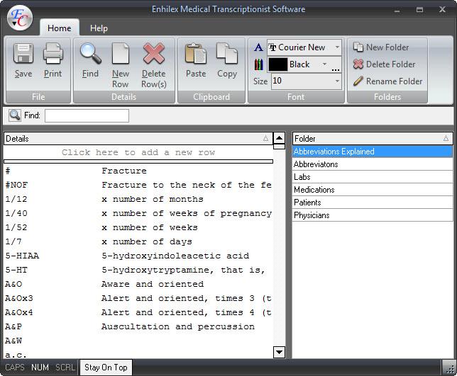 Enhilex Medical Transcription Software Screenshot 1