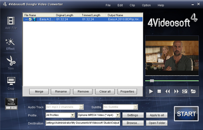 4Videosoft Google Video Converter Screenshot