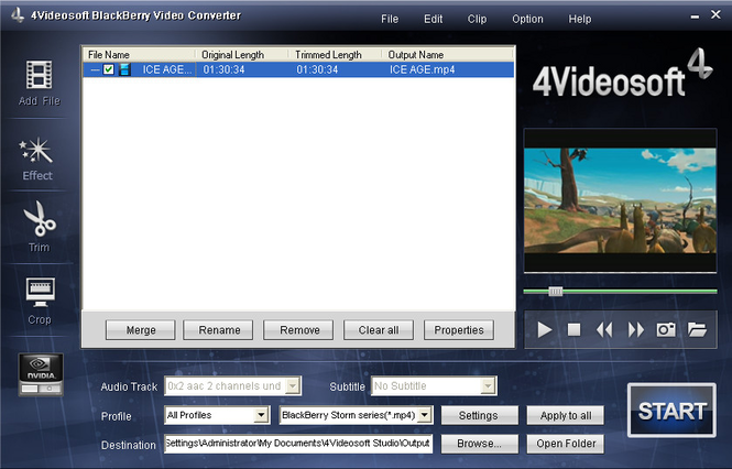 4Videosoft BlackBerry Video Converter Screenshot