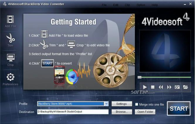 4Videosoft BlackBerry Video Converter Screenshot 3