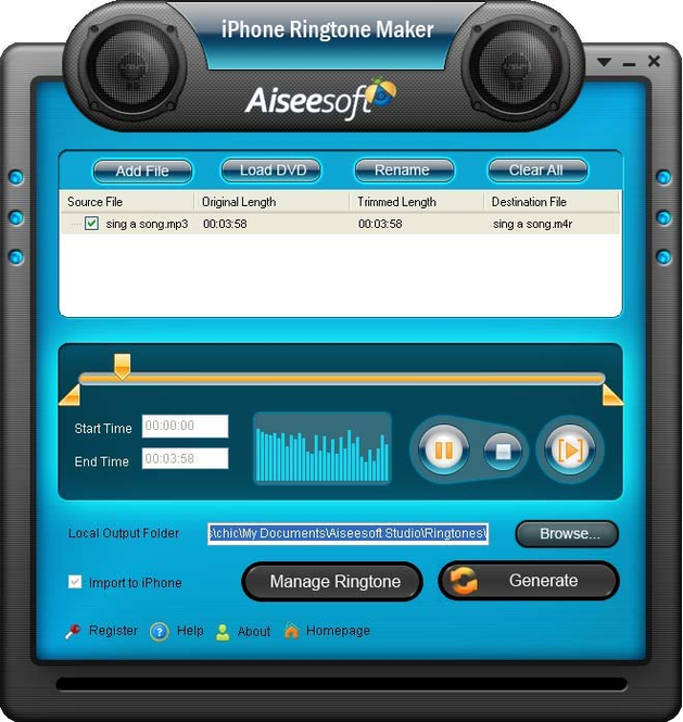 Aiseesoft iPhone Ringtone Maker Screenshot 1