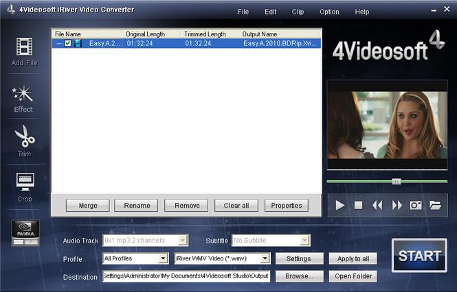 4Videosoft iRiver Video Converter Screenshot