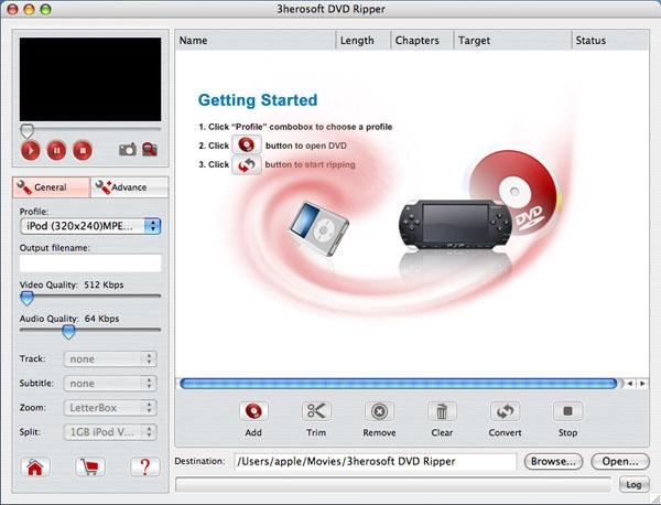 3herosoft DVD Ripper for Mac Screenshot