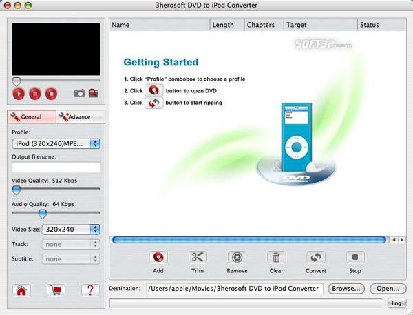 3herosoft DVD to iPod Converter for Mac Screenshot 3