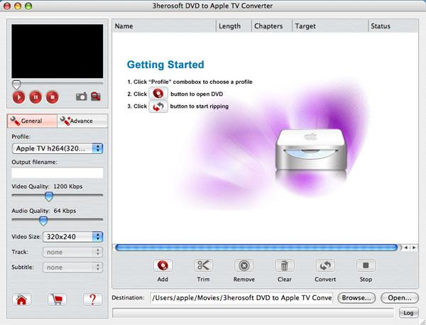 3herosoft DVD to Apple TV Converter for Mac Screenshot