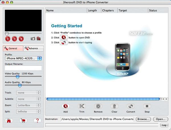 3herosoft DVD to iPhone Converter for Mac Screenshot 3