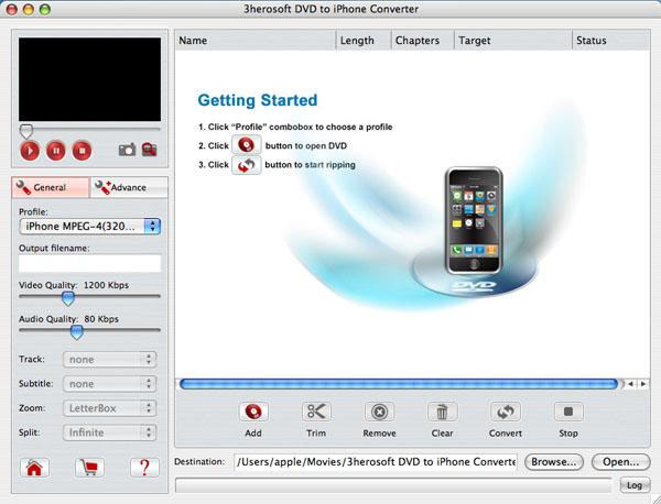 3herosoft DVD to iPhone Converter for Mac Screenshot