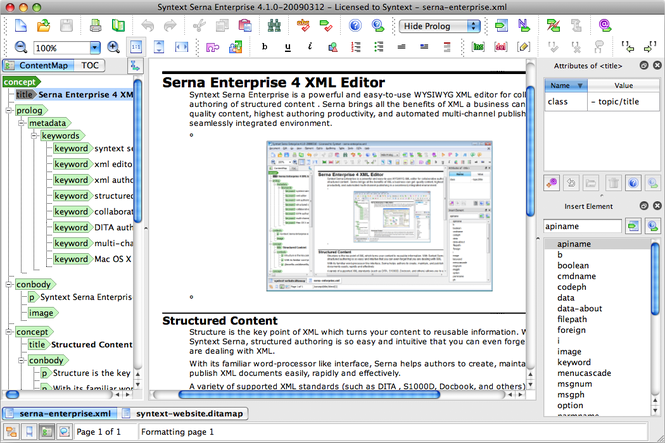 Serna Enterprise for Mac OS X Screenshot