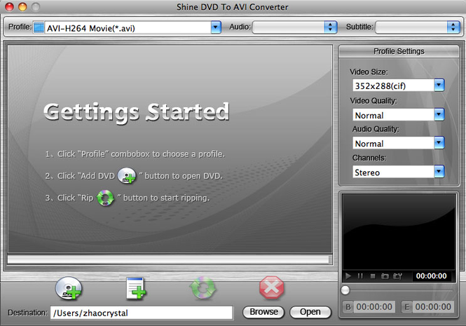 Shine DVD To AVI Converter for Mac Screenshot