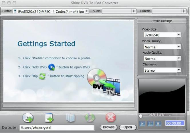Shine DVD To iPod Converter for Mac Screenshot 3