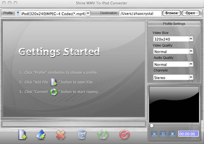 Shine WMV to iPod Converter for Mac Screenshot