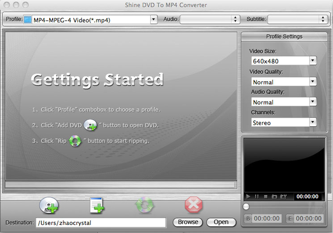 Shine DVD To MP4 Converter for Mac Screenshot