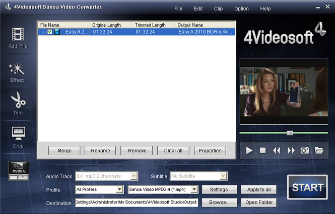 4Videosoft Sansa Video Converter Screenshot