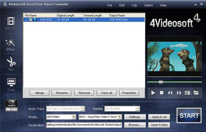 4Videosoft QuickTime Video Converter Screenshot