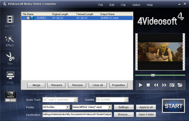 4Videosoft Nokia Video Converter Screenshot