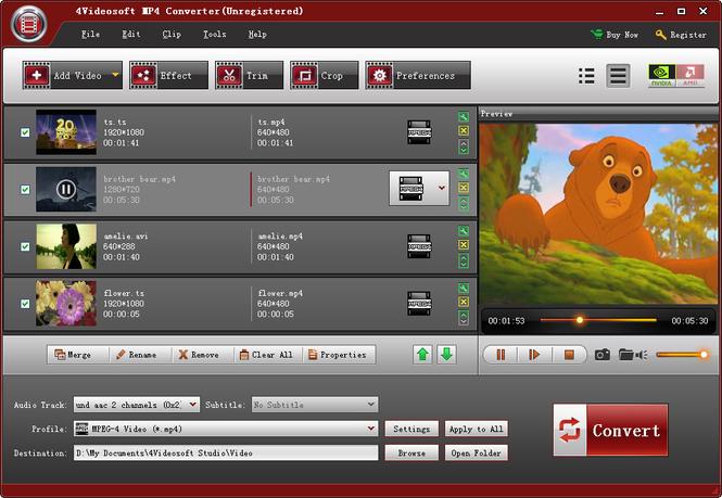 4Videosoft MP4 Converter Screenshot