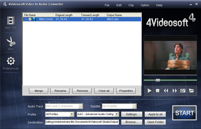 4Videosoft Video to Audio Converter Screenshot