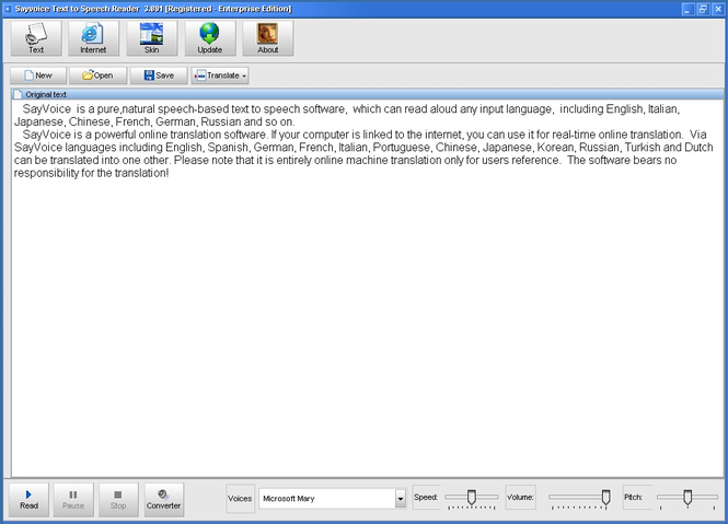 Sayvoice Text to speech reader-5 voices Screenshot