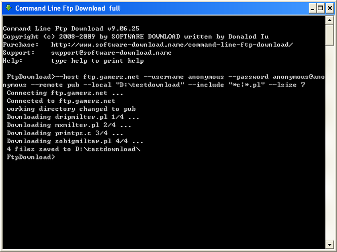 Command Line Ftp Download Screenshot