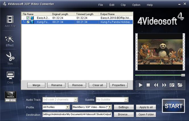 4Videosoft 3GP Video Converter Screenshot 1