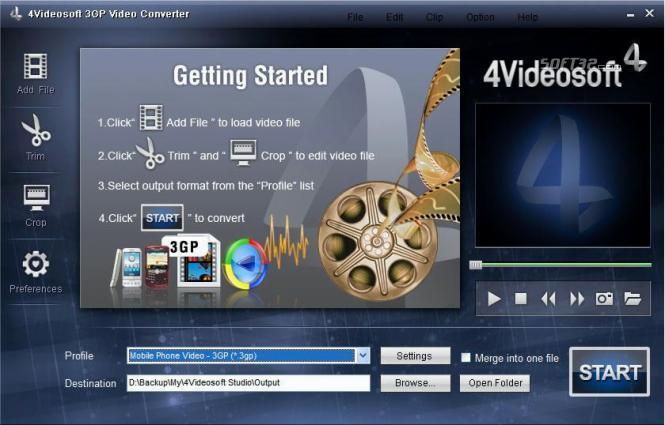 4Videosoft 3GP Video Converter Screenshot 2