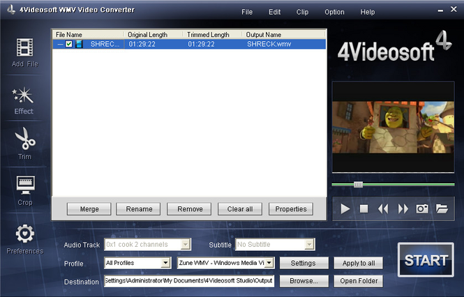 4Videosoft WMV Video Converter Screenshot 1