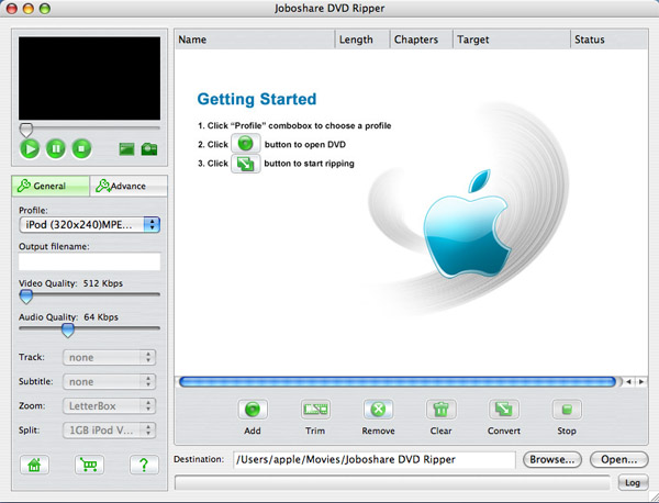 Joboshare DVD Ripper for Mac Screenshot