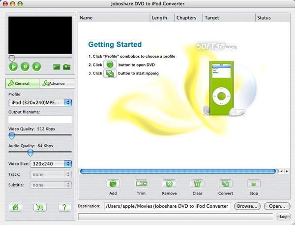 Joboshare DVD to iPod Converter for Mac Screenshot 2