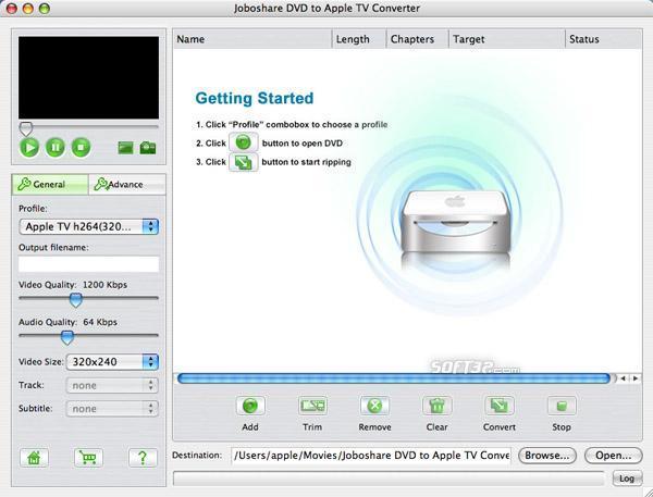 Joboshare DVD to Apple TV Converter for Mac Screenshot 2