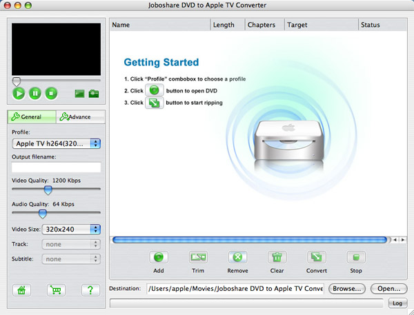 Joboshare DVD to Apple TV Converter for Mac Screenshot