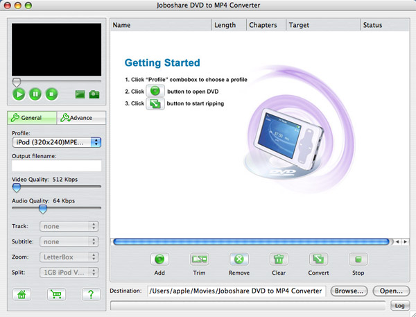 Joboshare DVD to MP4 Converter for Mac Screenshot