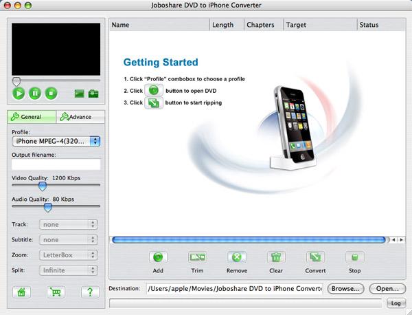 Joboshare DVD to iPhone Converter for Mac Screenshot