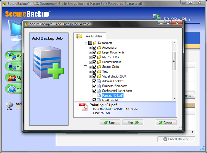 SecureBackup HOME: Online Backup Screenshot