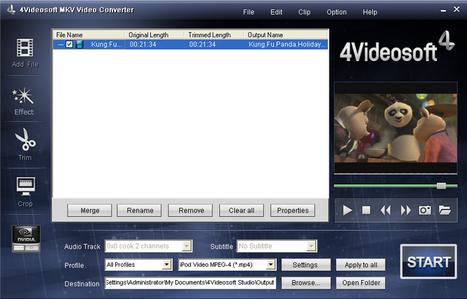 4Videosoft MKV Video Converter Screenshot