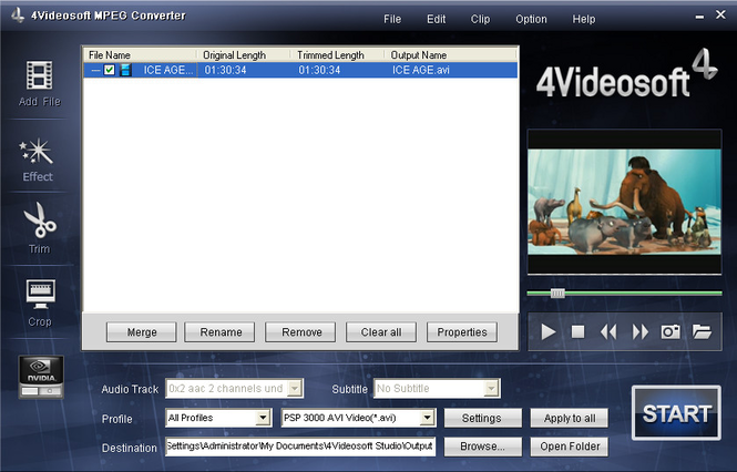 4Videosoft MPEG Converter Screenshot