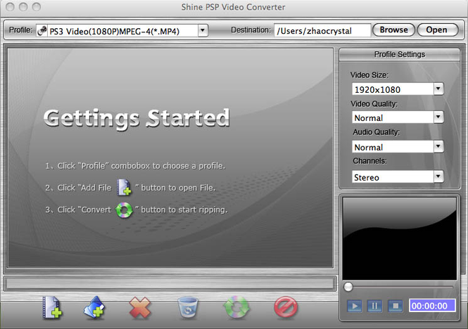 Shine PSP Video Converter for Mac Screenshot